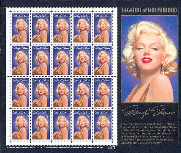 + USPS Legends of Hollywood 1995-06-01 Marilyn Monroe 01